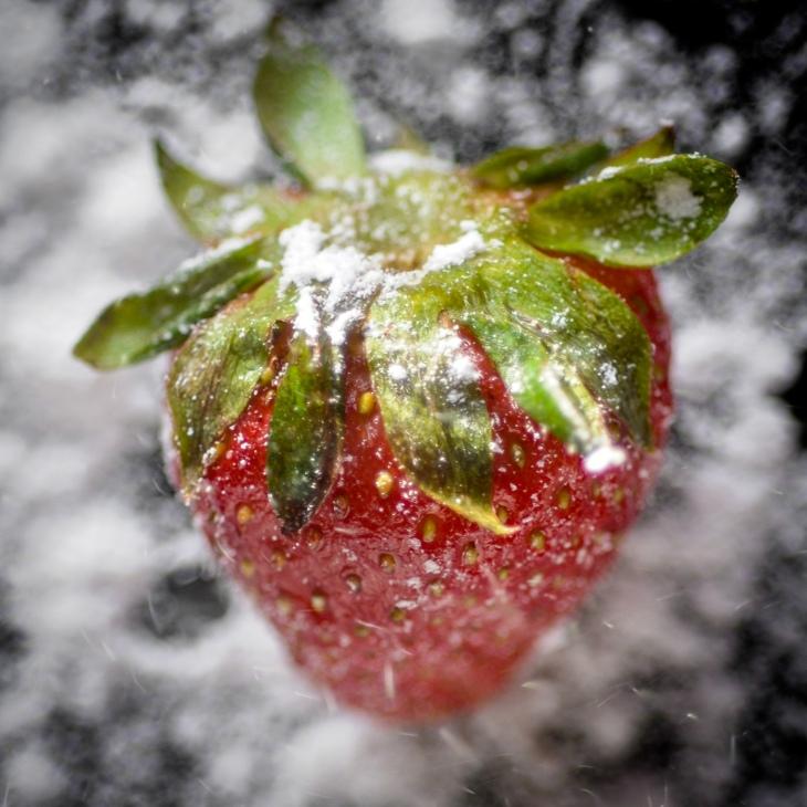 strawberry with powdered sugar